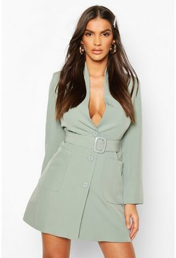 Sage Belted Pocket Detail Blazer Dress