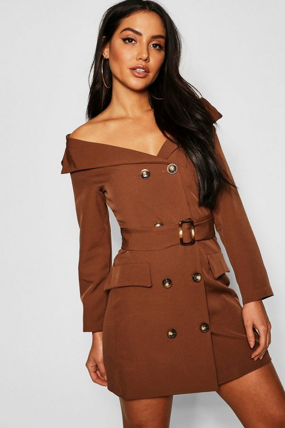 Womens Brown Off The Shoulder Belted Blazer Dress