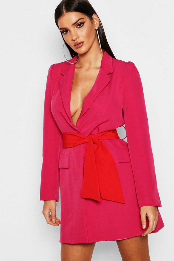 Womens Pink Contrast Belted Volume Sleeve Blazer Dress