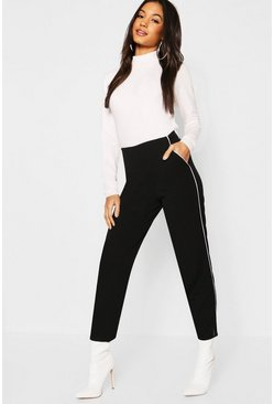 Womens Black Piping Detail Tapered Trouser