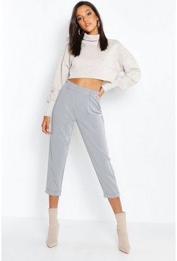 Womens Grey Woven Tailored Slim Fit Crop Pants