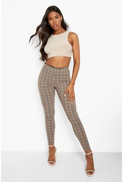 Womens Camel Checked Tailored Pants