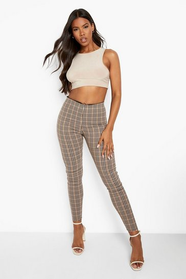 Womens Camel Checked Tailored Trouser