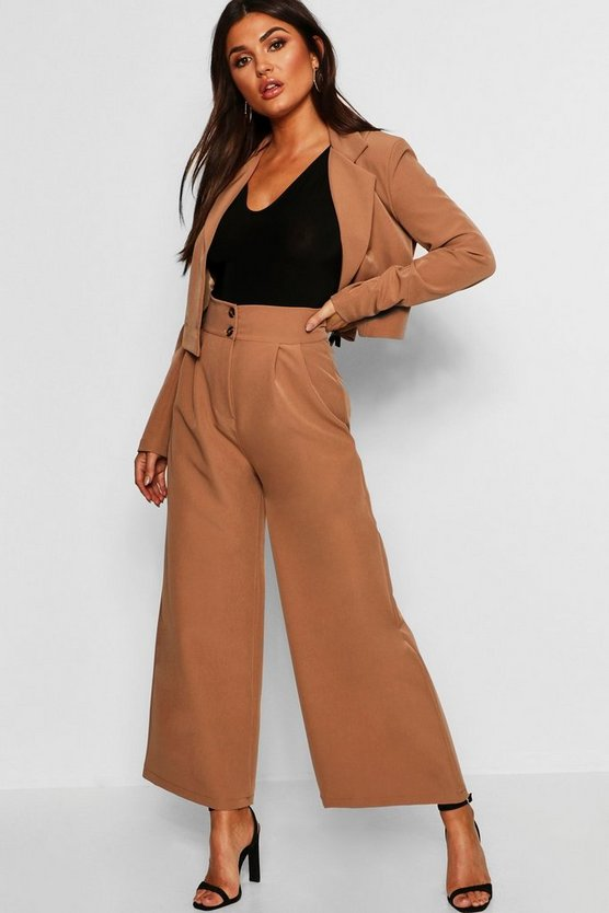 Womens Camel High Waist Wide Leg Pants