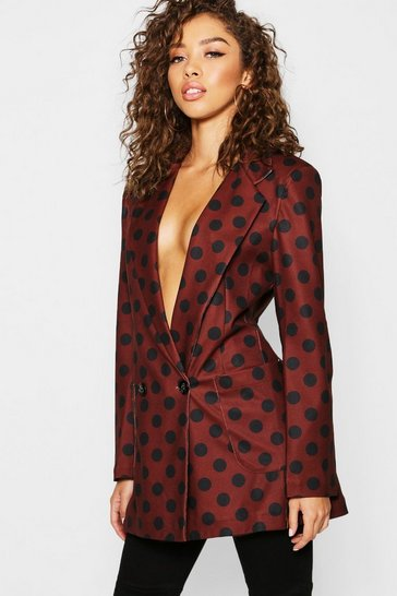 Womens Brown Polka Dot Longline Oversized Blazer