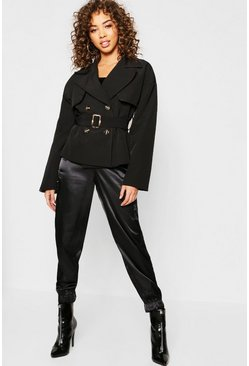 Womens Black Cropped Trench Jacket