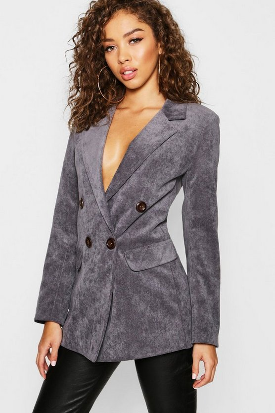 Charcoal Cord Double Breasted Blazer