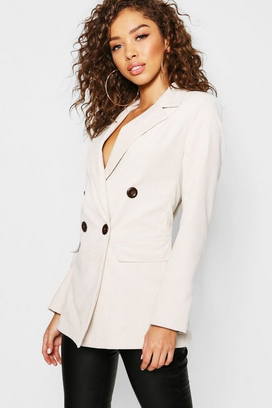 Womens Ecru Cord Double Breasted Blazer
