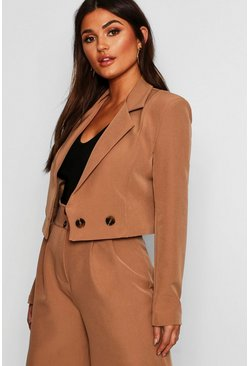 Womens Camel Cropped Double Breasted Blazer
