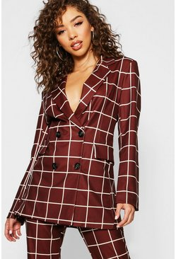 Womens Brown Check Oversize Blazer