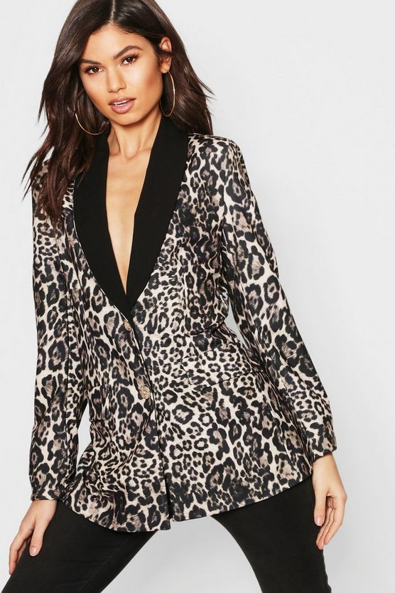 Womens Brown Leopard Print Contrast Collar Blazer