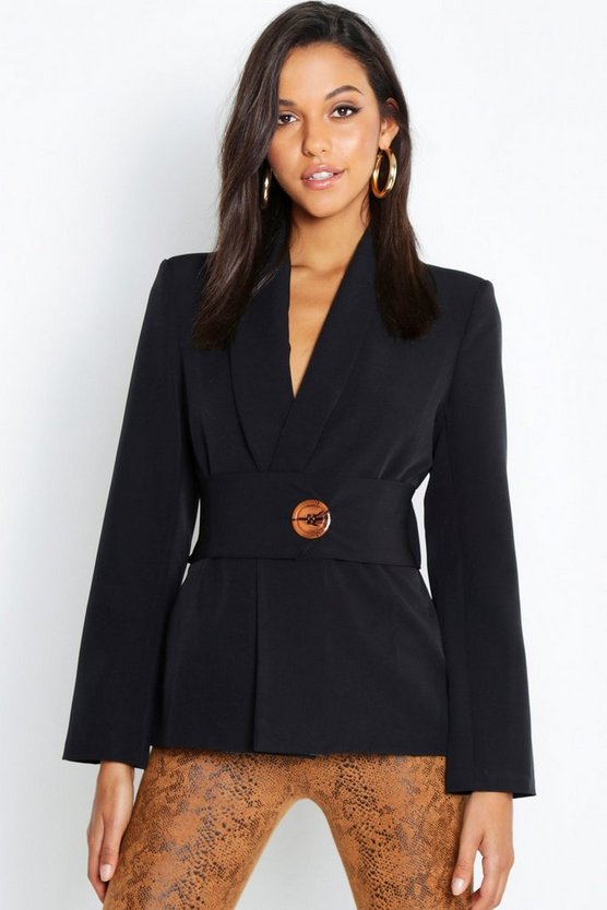 Oversized Belt Detail Blazer