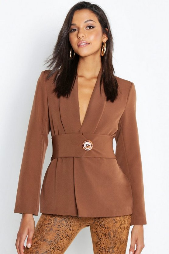 Womens Brown Oversized Belt Detail Blazer