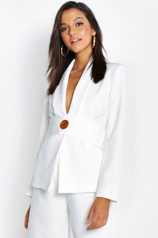 Womens Ivory Oversized Belt Detail Blazer
