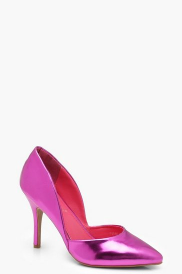 Womens Pink Cut Out Detail Court Shoes