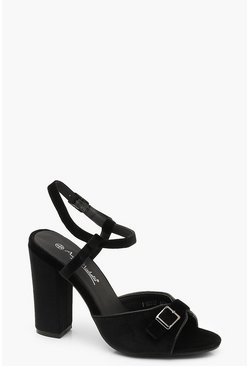 Womens Black Buckle Detail Block Heels