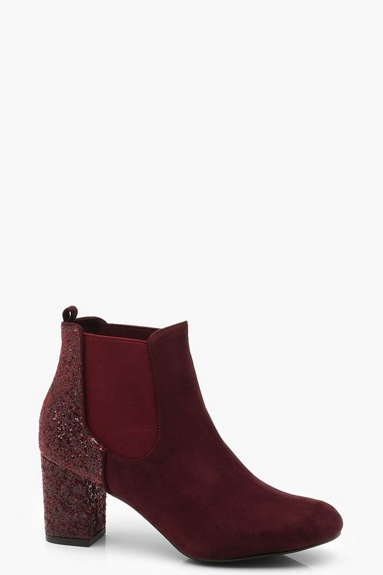 Womens Burgundy Glitter Panel Block Heel Shoe Boots