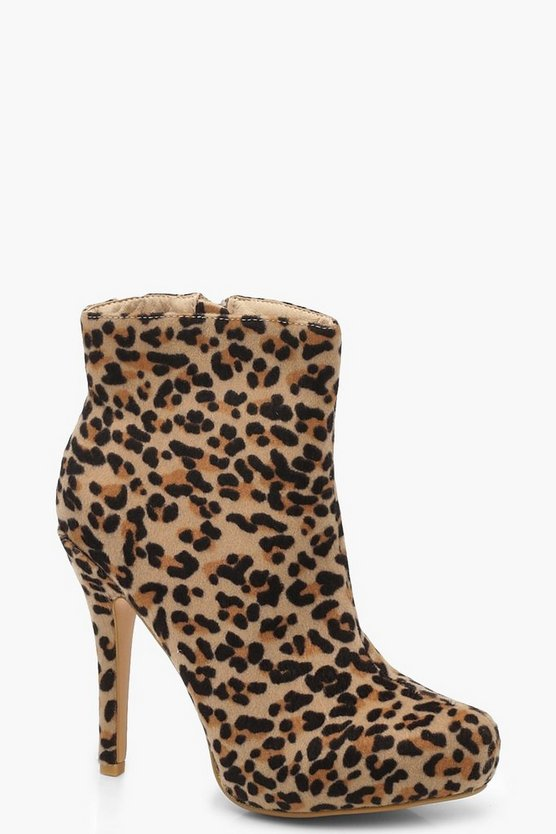 Leopard Print Stiletto Shoe Boots