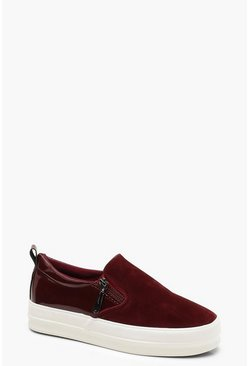 Womens Burgundy Immy Skaters With Zip