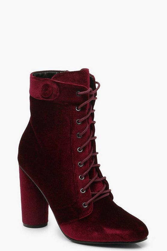 Velvet Lace Up Shoe Boots