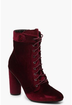 Womens Burgundy Velvet Lace Up Shoe Boots