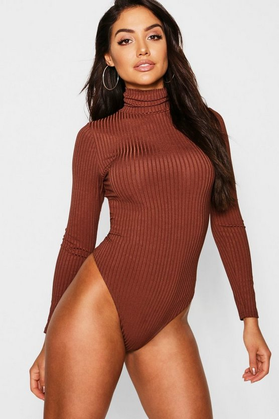 Womens Mocha Jumbo Rib Roll Neck High Rise Bodysuit
