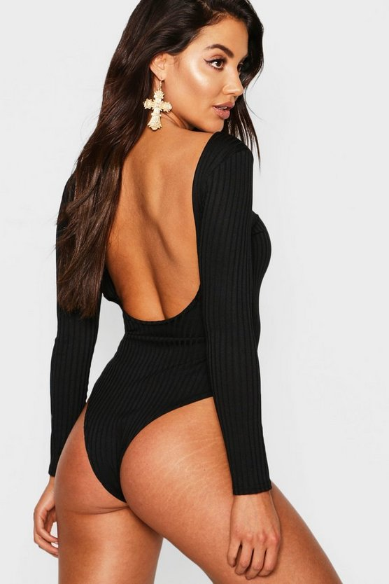 Jumbo Rib Long Sleeve Backless Bodysuit