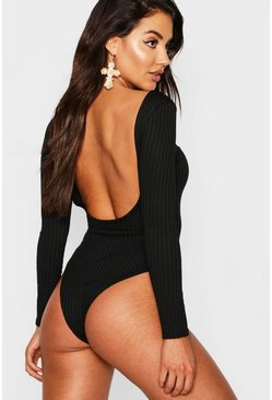Womens Black Jumbo Rib Long Sleeve Backless Bodysuit