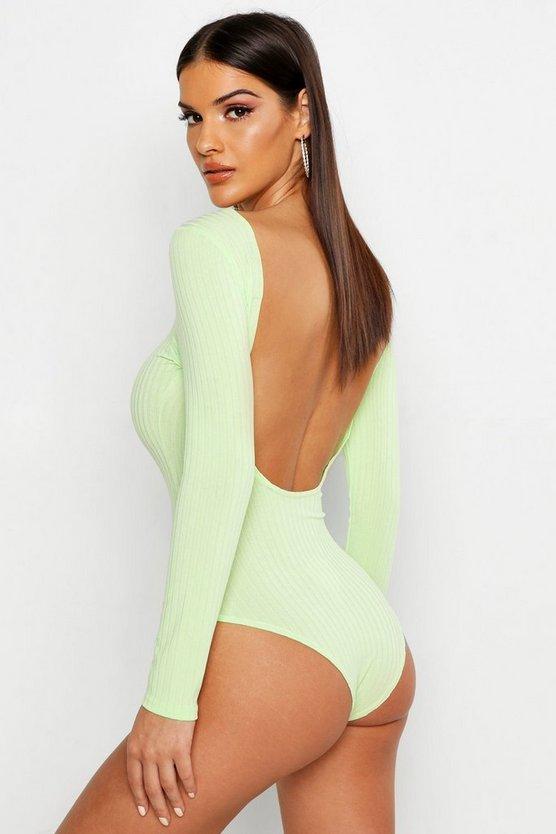 Jumbo Rib Long Sleeve Backless Bodysuit