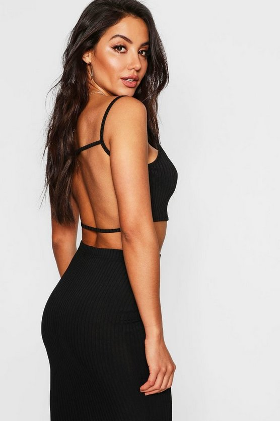 Black Jumbo Rib Strappy Back Bralet