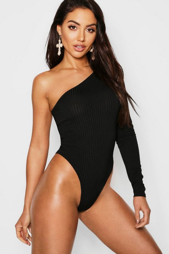 Jumbo Rib One Shoulder Bodysuit