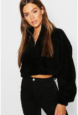 Black Overhead Funnel Neck Teddy Sweat
