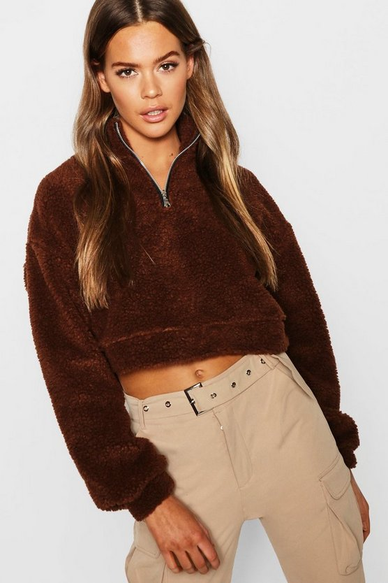 Womens Brown Overhead Funnel Neck Teddy Sweat