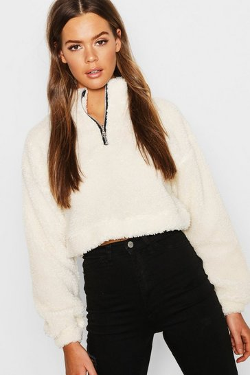 Ecru Overhead Funnel Neck Teddy Sweat