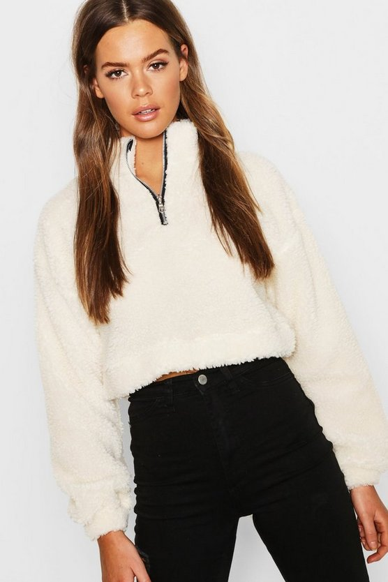 Womens Ecru Overhead Funnel Neck Teddy Sweat