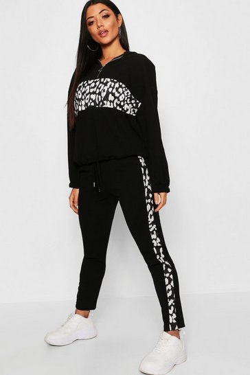 Womens Black Leopard Print Panel Joggers