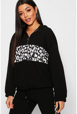 Womens Black Leopard Print Colour Block Hoody