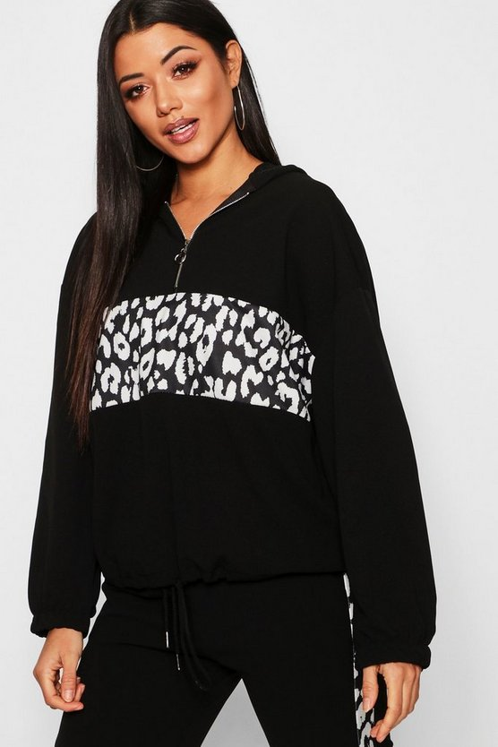 Leopard Print Colour Block Hoody