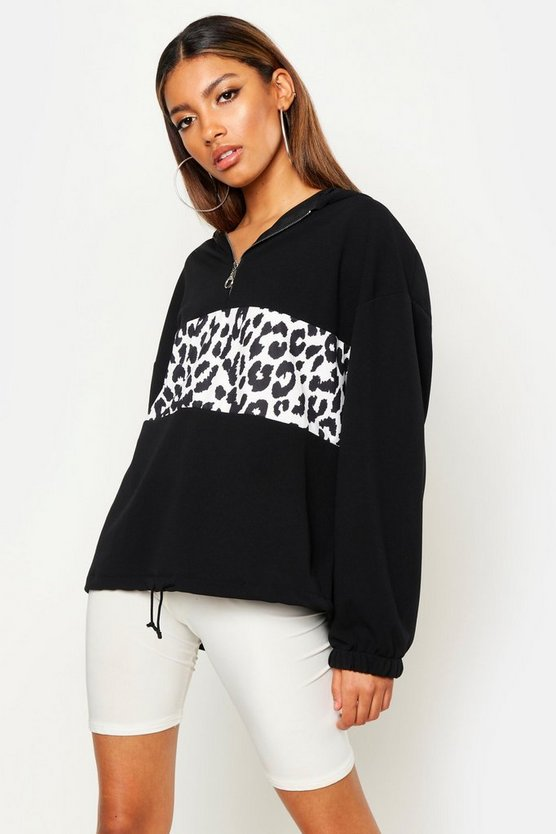 Womens White Leopard Print Colour Block Hoody