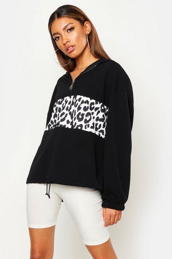 Leopard Print Colour Block Hoody