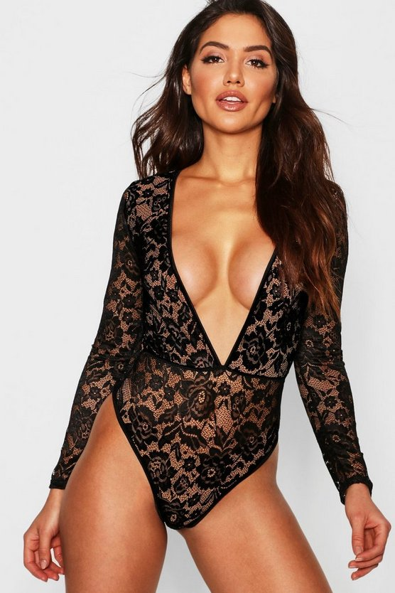 Womens Black Premium Lace Plunge Long Sleeve Bodysuit