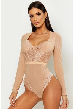 Premium Lace Cupped Long Sleeve Bodysuit, Nude, Donna