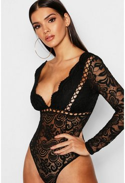 Womens Black Premium Crochet Lace Plunge Bodysuit