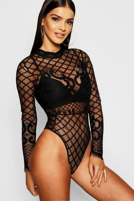 Womens Black Premium Lace High Neck Bodysuit