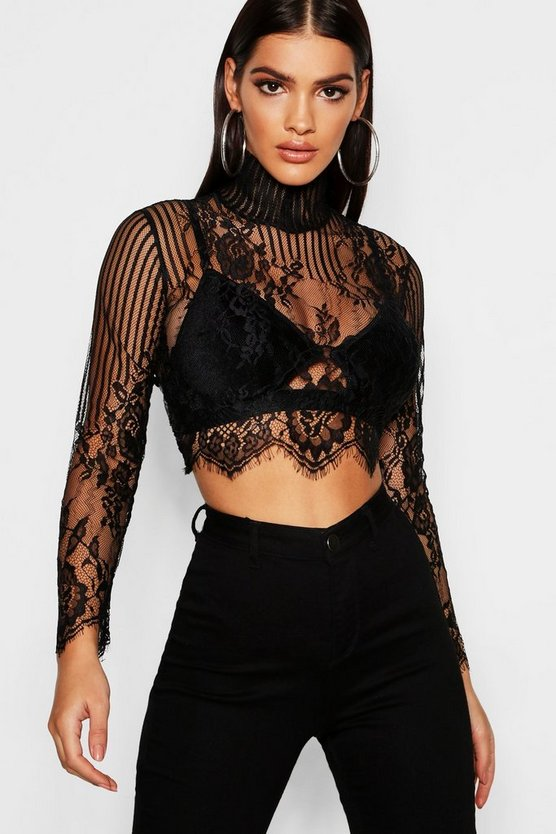 Premium Lace High Neck Crop
