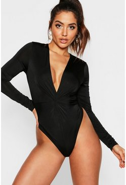 Womens Black Disco Slinky Knot Front Plunge Bodysuit