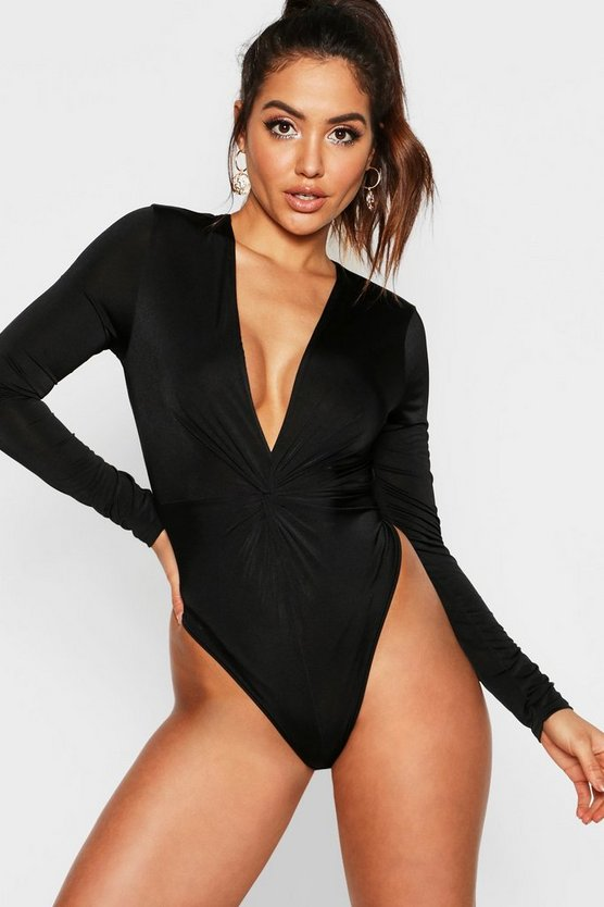Womens Disco Slinky Knot Front Plunge Bodysuit