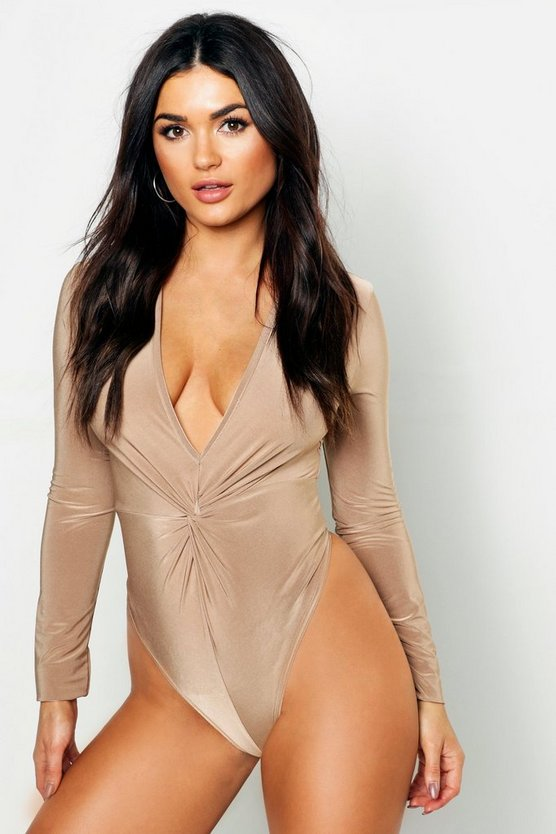 Disco Slinky Knot Front Plunge Bodysuit
