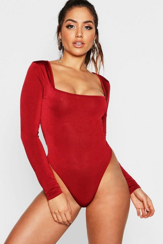 Wine Long Sleeve Disco Slinky Bodysuit