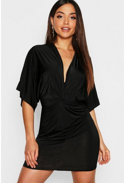 Womens Black Disco Slinky Twist Front Mini Dress